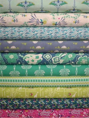 Frances Newcombe for Art Gallery, Safari Moon, Expedition Teal in FAT QUARTERS 10 Total