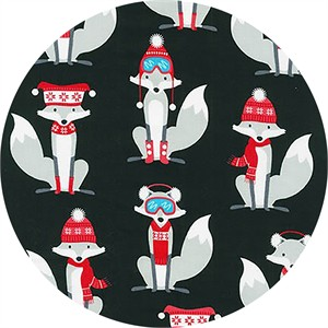 Andie Hanna for Robert Kaufman, Polar Pals, Frosty Foxes Black