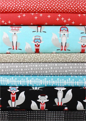 Fabricworm Custom Bundle, Frosty Foxes in FAT QUARTERS 8 Total (PRECUT)