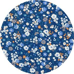 Sevenberry for Robert Kaufman, Petite Garden May Flowers, Full Bloom Blue
