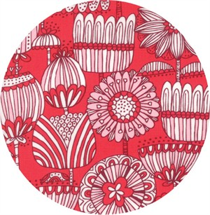 Stacy Iest Hsu for Moda, Just Another Walk in the Woods, Funny Flower Red