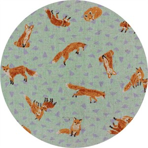 Cosmo Textiles, CANVAS, Furtive Foxes Aqua