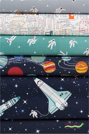 Makower UK, Galaxy in FAT QUARTERS 6 Total