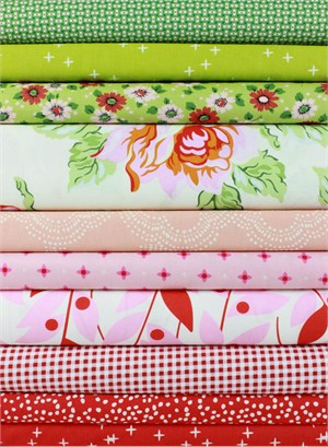 Fabricworm Custom Bundle, Garden Greetings in FAT QUARTERS 10 Total