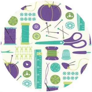 Gina Martin for Moda, Sewing Box, Notions Purple/Teal