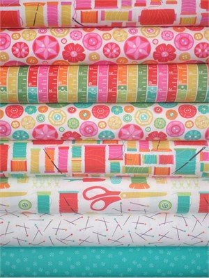 Gina Martin for Moda, Sewing Box, Multi in FAT QUARTERS 8 Total