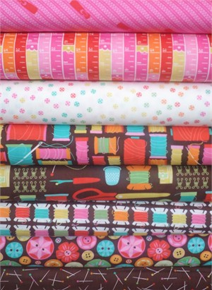 Gina Martin for Moda, Sewing Box, Pink/Chocolate in FAT QUARTERS 8 Total