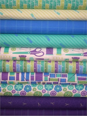 Gina Martin for Moda, Sewing Box, Purple/Teal in FAT QUARTERS 9 Total