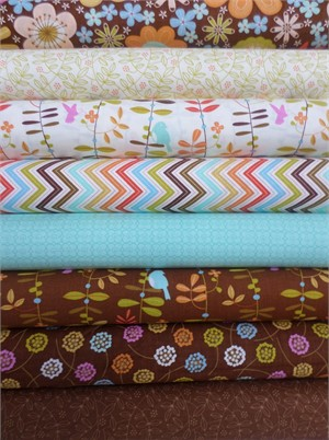 Gina Martin for Moda, Wrens & Friends, Chocolate in FAT QUARTERS 6 Total