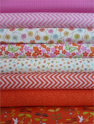 Gina Martin for Moda, Wrens & Friends, Tangerine in FAT QUARTERS 8 Total