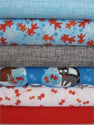Go Fish by Hoodie, for Timeless Treasures, in FAT QUARTERS 6 Total