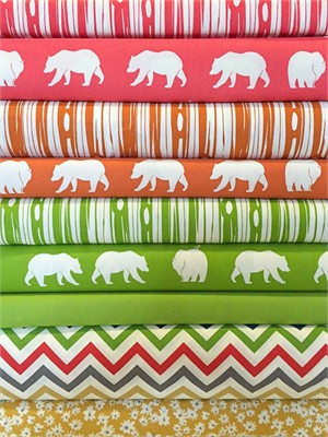 Fabricworm Custom Bundle, ORGANIC, Grassy Bears in FAT QUARTERS  9 Total