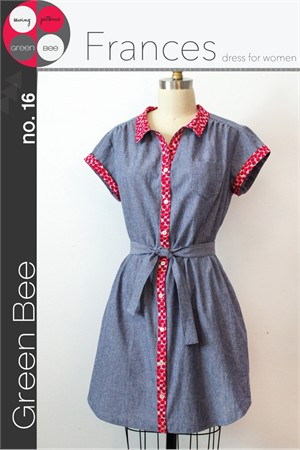 Green Bee Sewing Pattern, Frances Dress for Women
