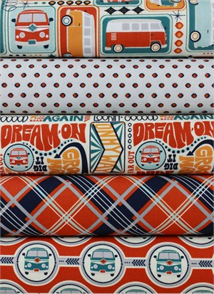 Sugar Sisters Design for Riley Blake, Keep On Groovin', Cream in FAT QUARTERS 5 Total (PRE-CUT)