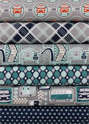 Sugar Sisters Design for Riley Blake, Keep On Groovin', Grey in FAT QUARTERS 6 Total (PRE-CUT)