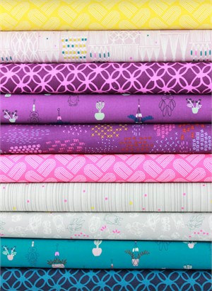Rashida Coleman-Hale for Cotton and Steel, Macrame, Groovy Grape in FAT QUARTERS 10 Total (PRE-CUT)
