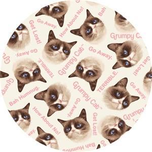 Marcus Fabrics, FLANNEL, Grumpy Cat White