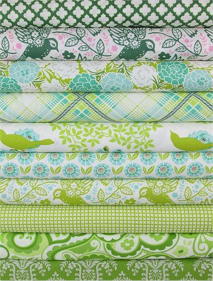 Heather Bailey, Up Parasol, Chartreuse in FAT QUARTERS 9 Total