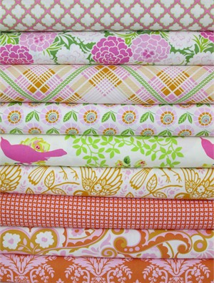 Heather Bailey, Up Parasol, Tangerine in FAT QUARTERS 9 Total