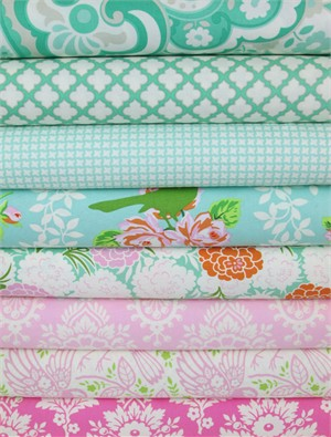 Heather Bailey, Up Parasol, Turquoise/Pink in FAT QUARTERS 8 Total