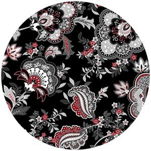 Henry Glass, Black, White, & Currant 5, Floral Black