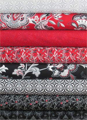 Henry Glass, Black, White, & Currant 5 in FAT QUARTERS 8 Total (PRE-CUT)
