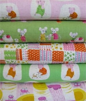 Heather Ross, Nursery Versery, Green in FAT QUARTERS 5 Total