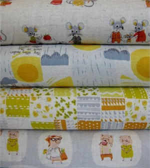 Heather Ross, Nursery Versery, Grey in FAT QUARTERS  4 Total