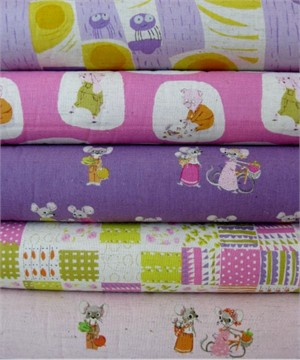 Heather Ross, Nursery Versery, Plum in FAT QUARTERS 5 Total