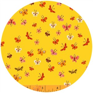 Heather Ross, Tiger Lily, WIDE WIDTH, LAWN, Butterflies Yellow