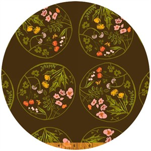 Heather Ross, Tiger Lily, Wreaths Brown