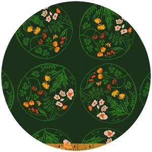 Heather Ross, Tiger Lily, Wreaths Green