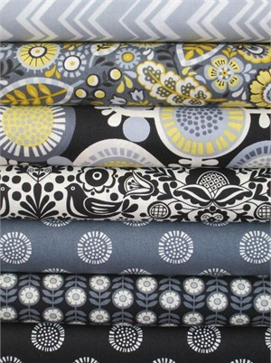 Henley Studio, Modern Folkloric, Gray in FAT QUARTERS 7 Total