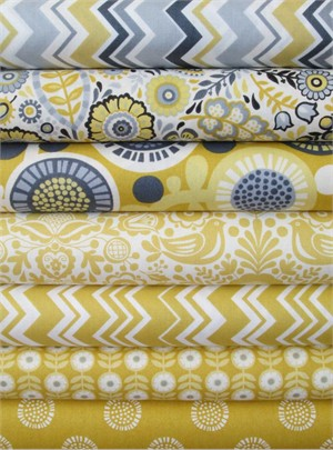 Henley Studio, Modern Folkloric, Yellow in FAT QUARTERS 7 Total