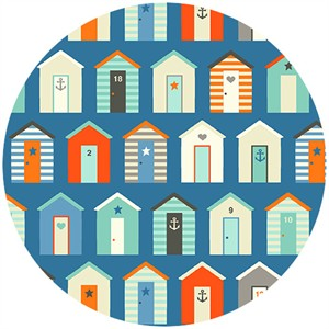 Henley Studio, Nautical, Beach Huts Blue