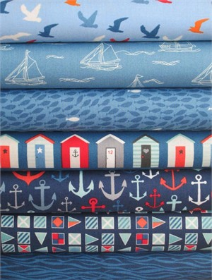 Henley Studio, Nautical, Blue in FAT QUARTERS 7 Total