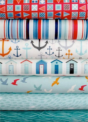 Henley Studio, Nautical, Teal in FAT QUARTERS 7 Total