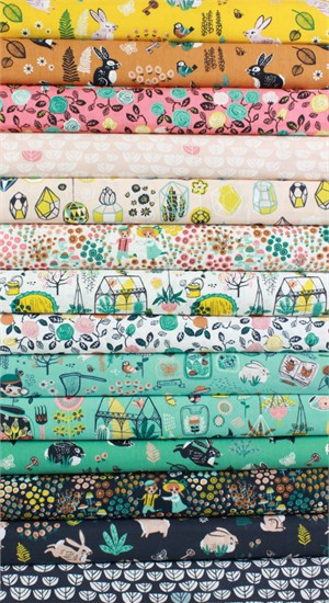 Miriam Bos for Birch Organic Fabrics, The Hidden Garden in FAT QUARTERS 14 Total  (PRE-CUT)
