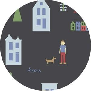 Windham Fabrics, Neighborhood, Houses Charcoal