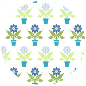In The Beginning Fabrics, Bloom Modern, Flower Pot Blue