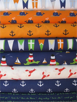 Jack and Lulu, All Hands On Deck, Navy/Orange in FAT QUARTERS 8 Total