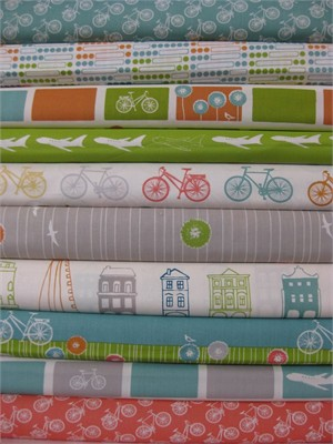 Jay-Cyn Designs for Birch Fabrics, Commute, Organic, in FAT QUARTERS 8Total