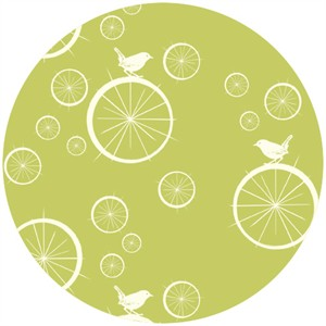 Jay-Cyn Designs for Birch Fabrics, Mod Basics, Organic, Birdie Spokes Grass