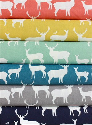 Jay-Cyn Designs for Birch Fabrics, Mod Basics 2, Elk Fam in FAT QUARTERS 6 Total  (PRE-CUTS)