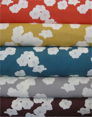 Jay-Cyn Designs for Birch Fabrics, Mod Basics 2, Poppies in FAT QUARTERS 5 Total  (Pre-cuts)