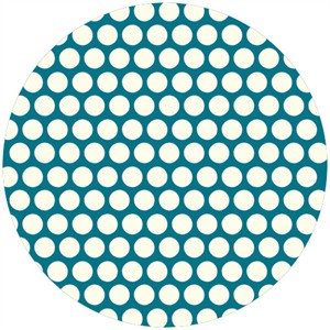 Jay-Cyn Designs for Birch Fabrics, Mod Basics, Organic, Dottie Cream Teal