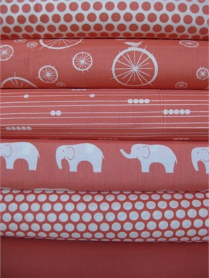 Jay-Cyn Designs for Birch Fabrics, Mod Basics, Organic, Coral in FAT QUARTERS, 6 Total