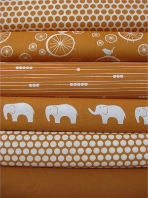 Jay-Cyn Designs for Birch Fabrics, Mod Basics, Organic, Orange in FAT QUARTERS, 6 Total