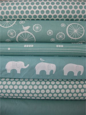 Jay-Cyn Designs for Birch Fabrics, Mod Basics, Organic, Pool, 6 Total