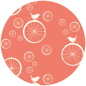 Jay-Cyn Designs for Birch Fabrics, Mod Basics, Organic, Birdie Spokes Coral